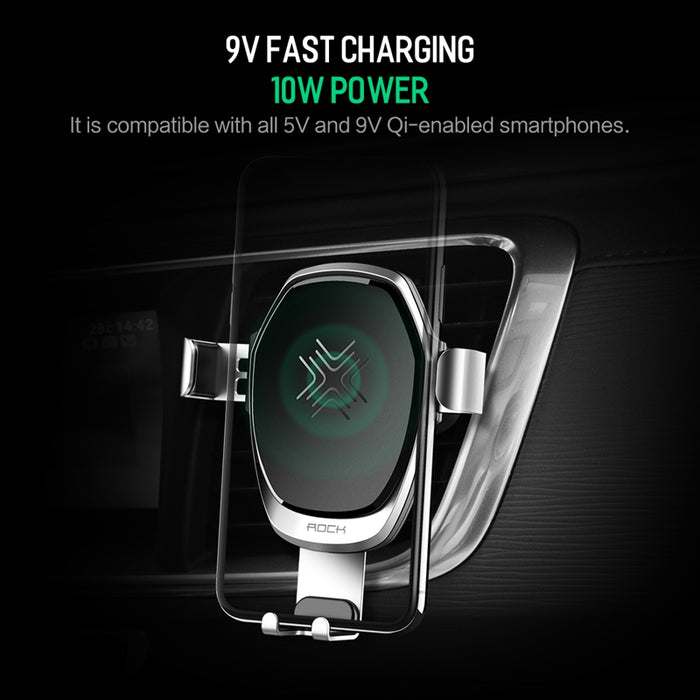 Metal Gravity Car Holder Wireless Charger for iPhone 8 X, ROCK 10W Alloy Qi Gravity Wireless Car Charger Holder for Samsung