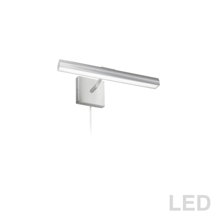 "Dainolite PIC222-16LED-SC Leonardo 20W 16"" Picture Light, Satin Chrome with Frosted Glass Diffuser"