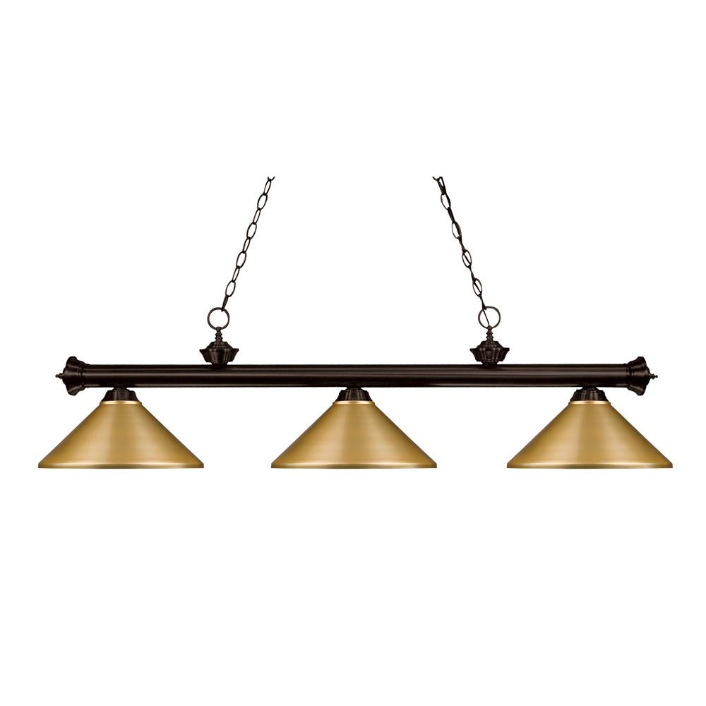 Z-Lite 200-3BRZ-MSG Riviera 3 Light Billiard Light in Bronze