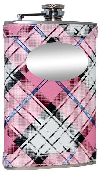 Visol Valor Pink Plaid Stainless Steel Hip Flask - 8oz