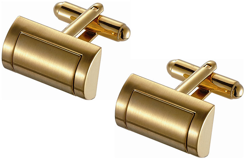 D-shaped Golden Satin Finish Cufflinks
