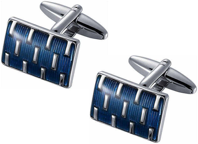 Blue Enamel And Rhodium Cufflinks