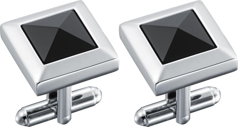 Visol Marquis Black Lacquer Stainless Steel Cufflinks