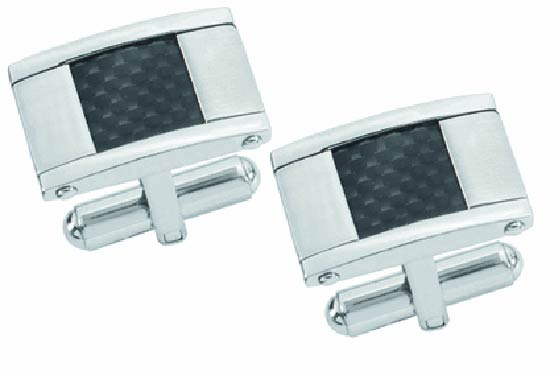 Visol Orion Carbon Fiber Brushed Stainless Steel Cufflinks