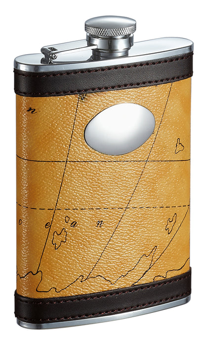 Visol Globe Yellow And Brown Liquor Flask - 8 Ounce