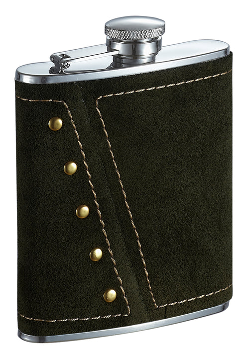 Visol Mission Dark Olive Colored Suede Liquor Flask - 6 Ounce