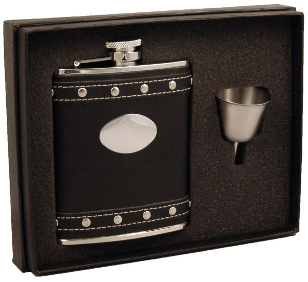 Visol Roxanne Black Leather 6oz Liquor Flask With Studs Gift Set