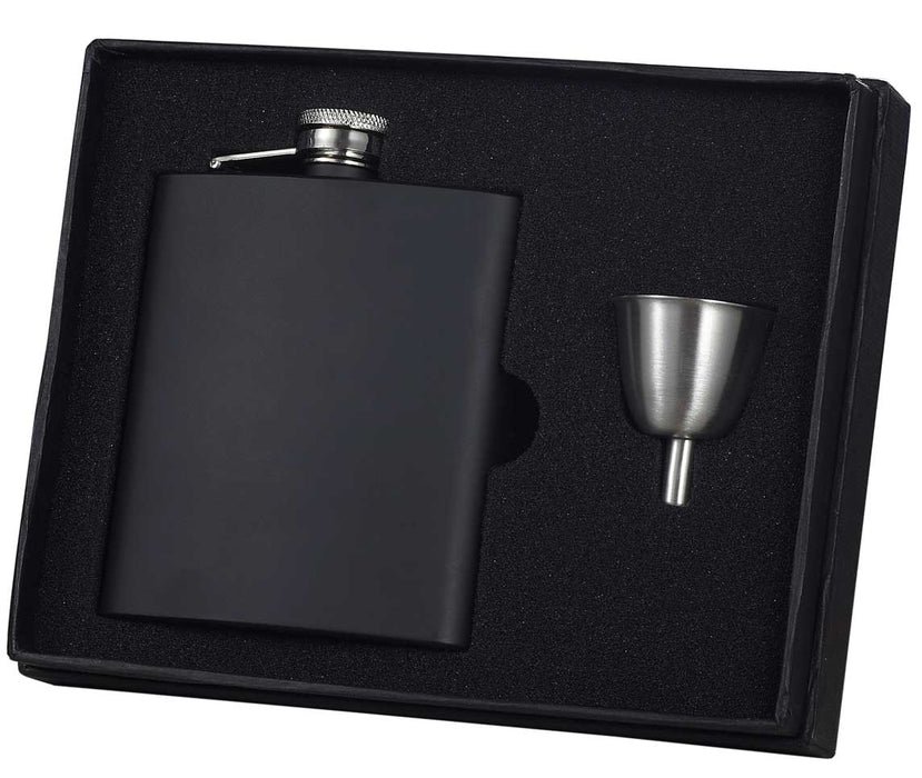 Visol Raven Black Stainless Steel 8oz Flask Gift Set