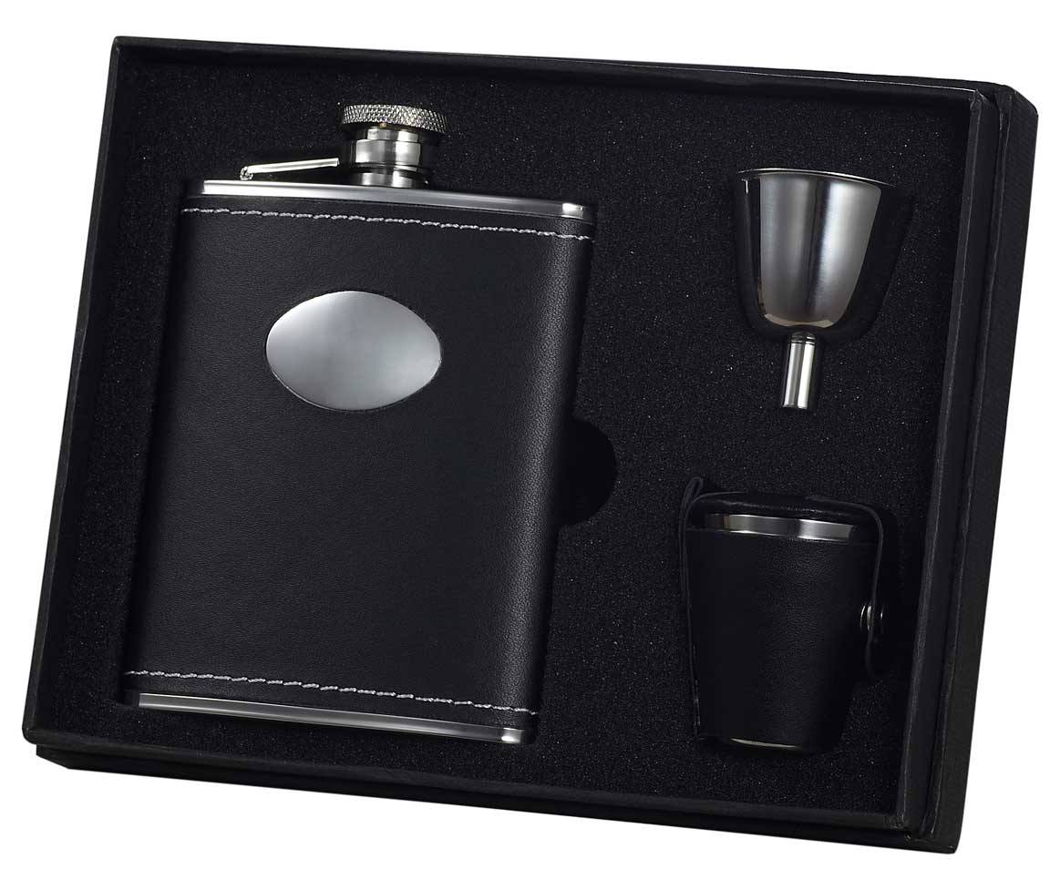 Visol Eclipse Leather Stainless Steel 6oz Deluxe Flask Gift Set