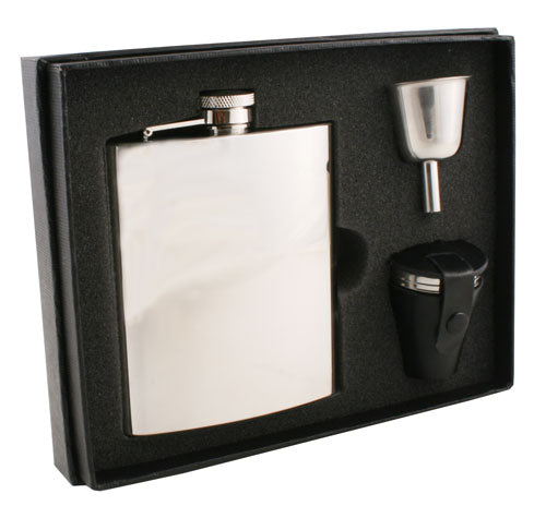 Visol Ray Mirror Finish Stainless Steel 8oz Deluxe Flask Gift Set