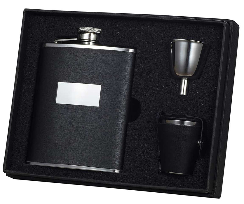 Visol Ontario Black Leather 6oz Deluxe Flask Gift Set