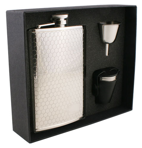 Visol Hive Beehive Pattern 8oz Deluxe Flask Gift Set