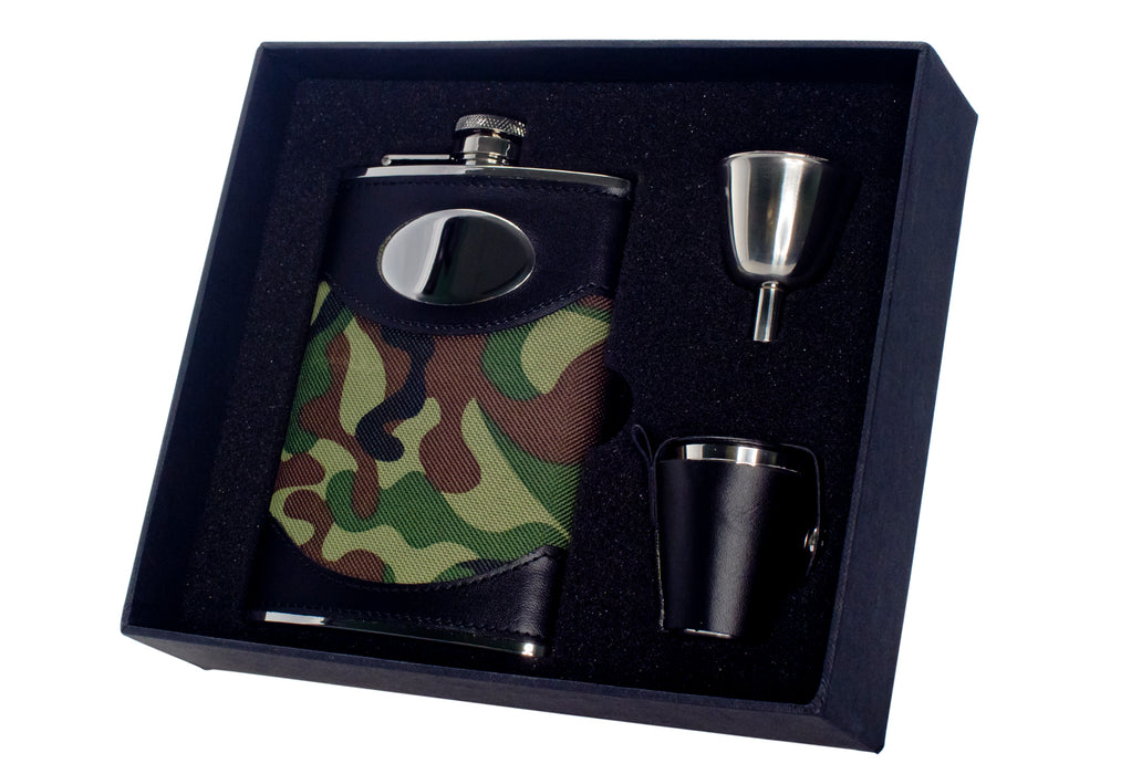 Visol Gi Joe 8oz Green Camouflage Stainless Steel Deluxe Flask Gift Set