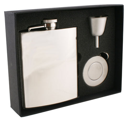 Visol Ray Mirror Finish Stainless Steel 8oz Stellar Flask Gift Set