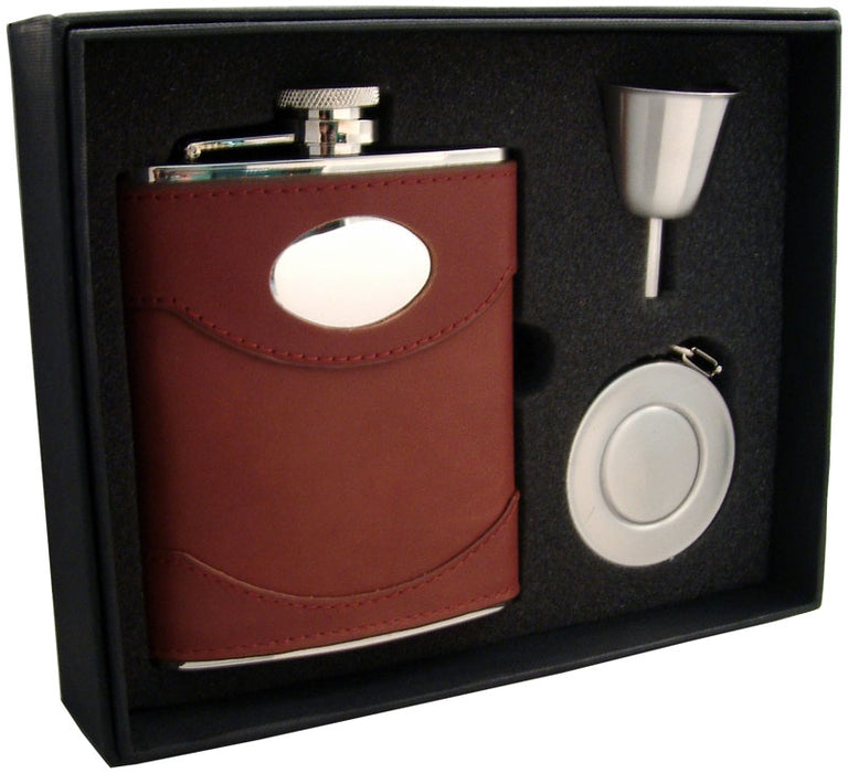 Visol Armstrong 6oz Brown Leather Stellar Flask Gift Set