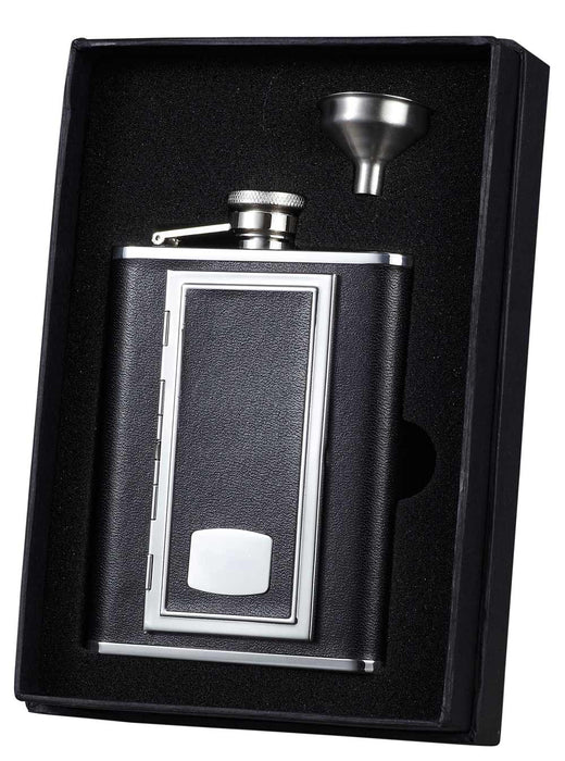 Visol Sp Black Leather Flask Ith Built-in Cigarette Case