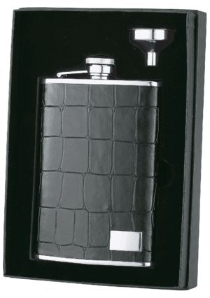 Visol 8 Oz Alligator Patterned Leather Liquor Flask