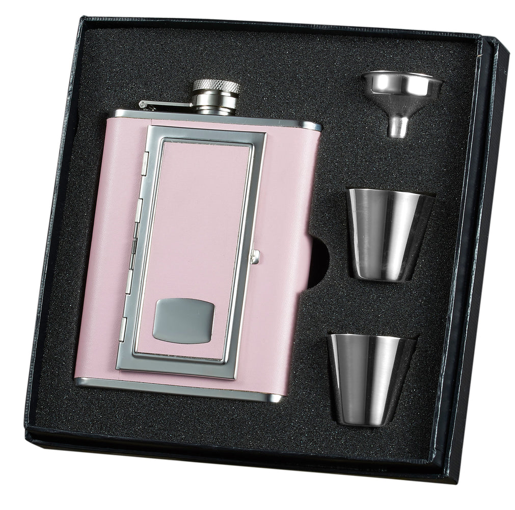 Visol Sp Pink Leather Hip Flask With Built-in Cigarette Case Deluxe Hip Flask Gift Set - 6 Oz