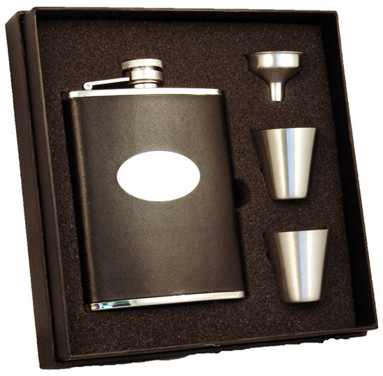 Visol Lance Black Leather Stainless Steel 6oz Deluxe Flask Gift Set