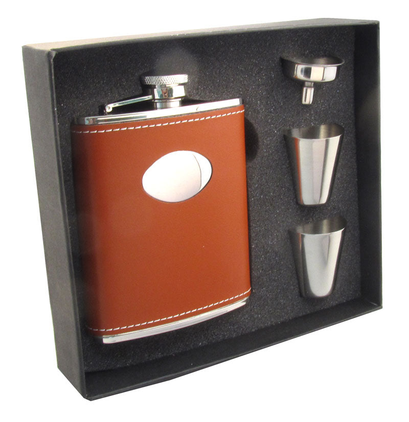 Visol Hound Leather Stainless Steel 6oz Hip Flask Gift Set