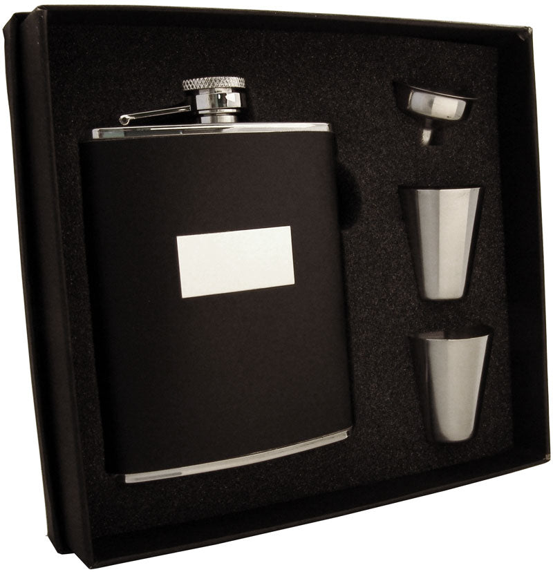 Visol Ontario Black Leather 6oz Stainless Steel Hip Flask Gift Set