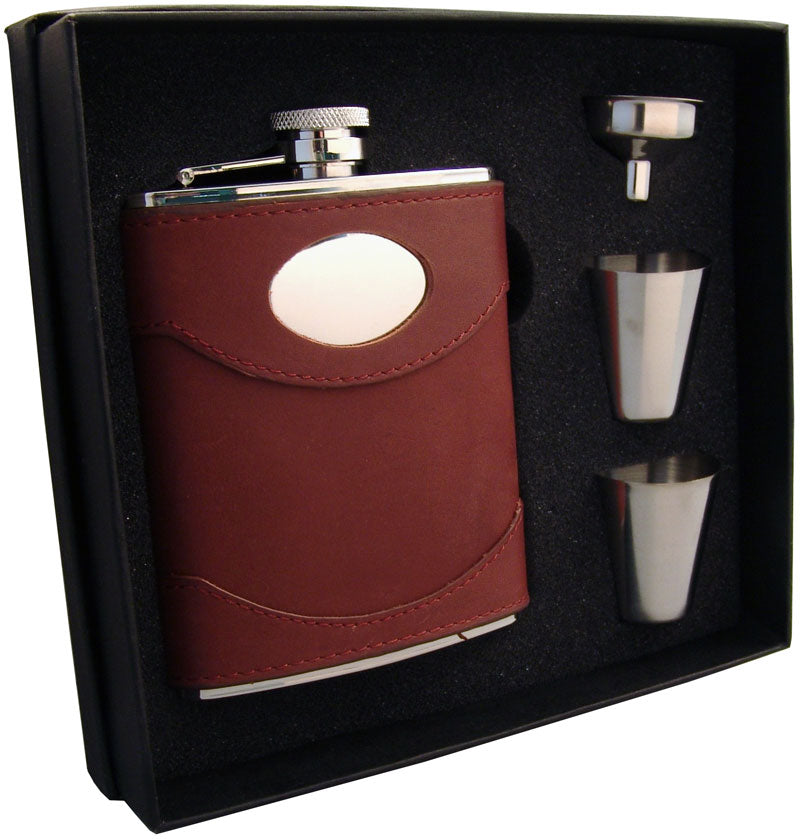 Visol Armstrong 6oz Brown Leather Flask Gift Set