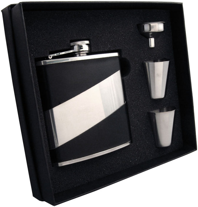 Visol Descent Deux Black Leatherette 6oz Flask Gift Set