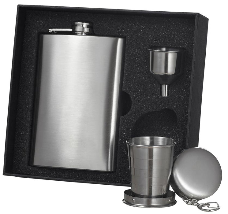 Visol Boris 8oz Stainless Steel Flask Gift Set