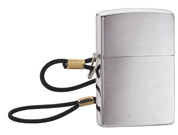 Zippo Brushed Chrome Lighter Loop And Lanyard