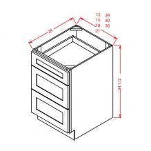 Shaker White - 3 Drawer Bases