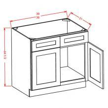 Shaker Cinder - Vanity Sink Bases-Double Door Double Drawer Front, SC-VS30, SC-VS36