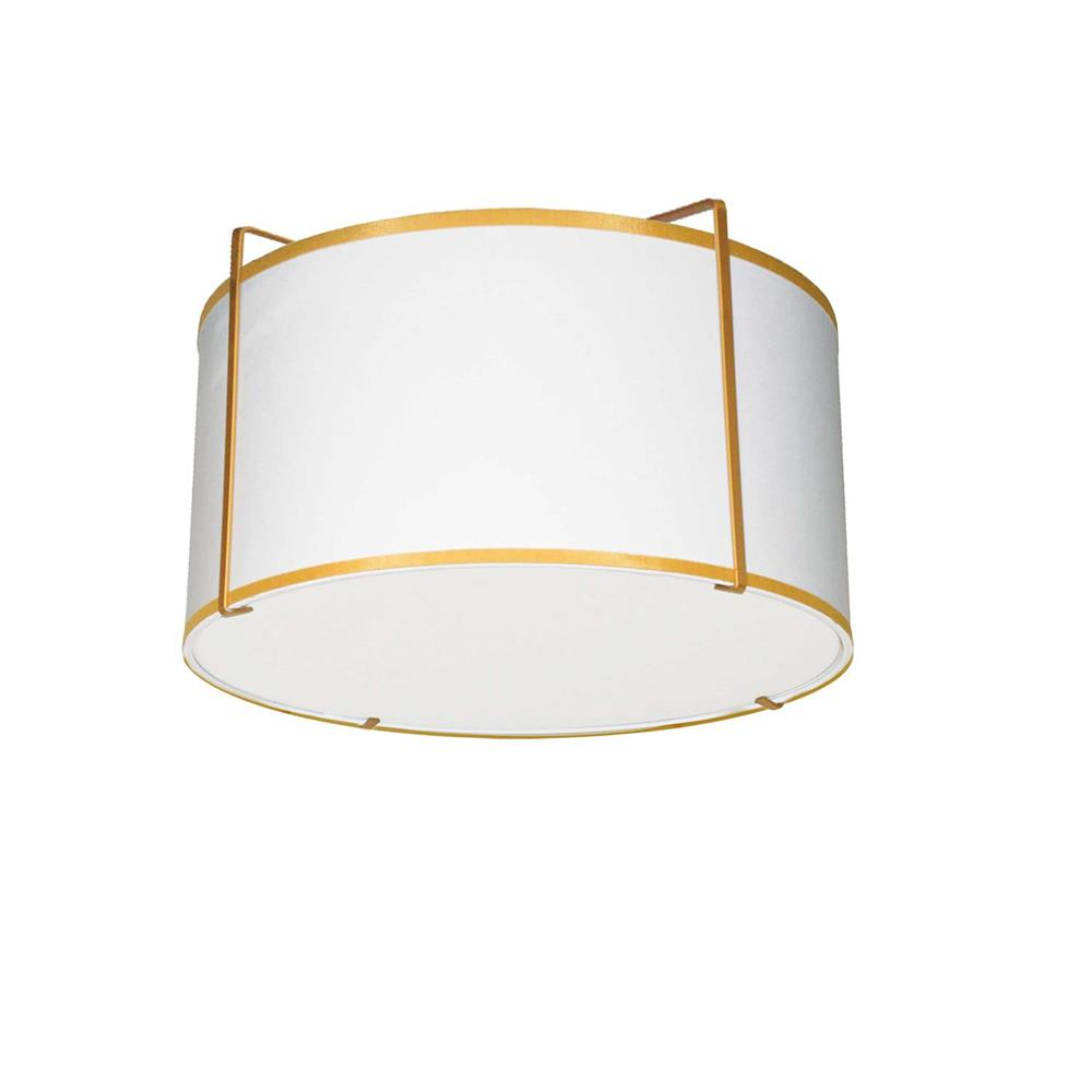 Dainolite TRA-121FH-GLD-WH Trapazoid 2 Light Drum Flush Mount, Gold/White Shade, 790 Diffuser,Gold