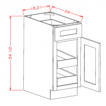 Grey Shaker - Single Door Double Rollout Shelf Bases GS-B182RS GS-B212RS