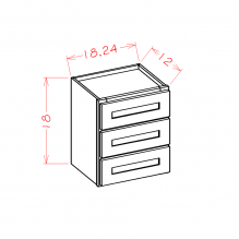 Shaker Espresso - Wall Three Drawer