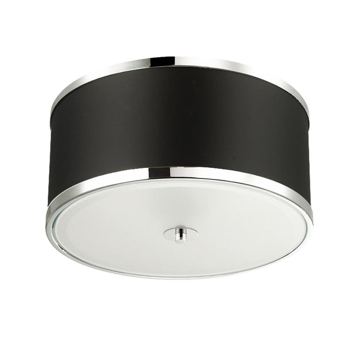 Dainolite ZUR-153FH-PC-BK Zuri 3 Light Incandescent Flush Mount, Polished Chrome Finish with Black Shade