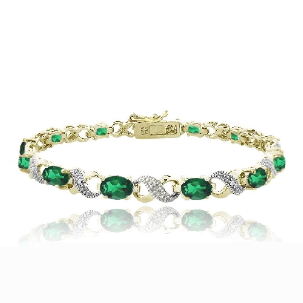 18k Gold Plated 5.4ct Created Emerald & Diamond Accent Infinity Links Bracelet