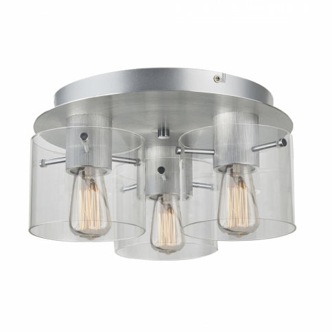 Artcraft Henley AC11524CL Flush Mount in Brushed Aluminum, Clear Glass