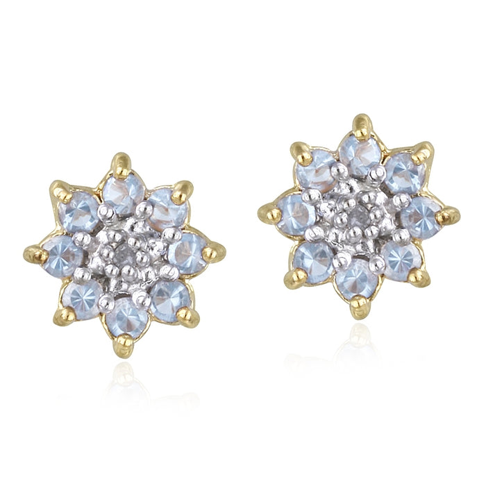 18k Gold Over Sterling Silver Lavender Cz & Diamond Accent Flower Stud Earrings