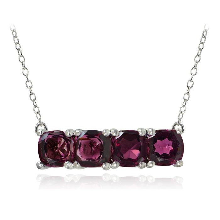 Sterling Silver Garnet Bar Necklace