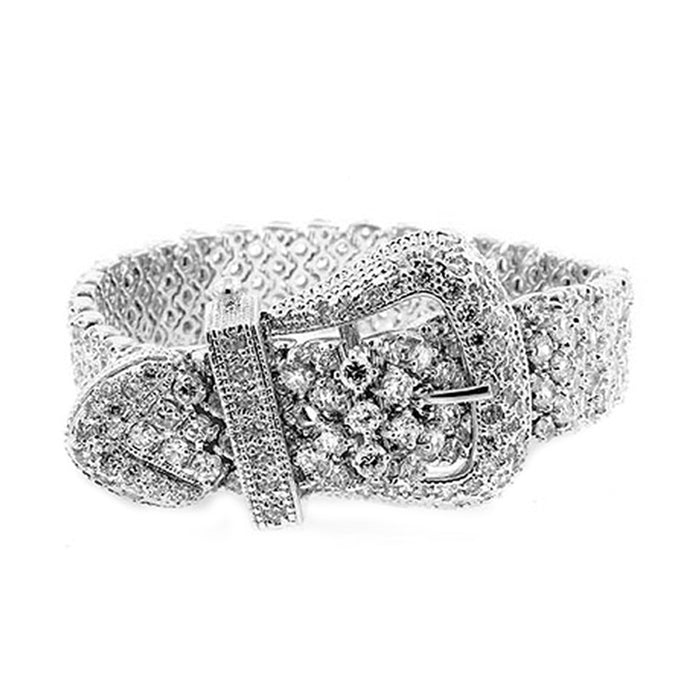 J Goodin Contemporary Fashion Style Cubic Zirconia Silvertone Finish Buckle Bracelet For Women