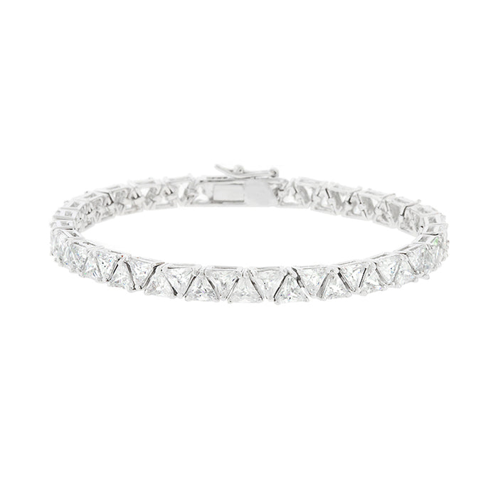 J Goodin Contemporary Fashion Style Cubic Zirconia Silvertone Finish Divinity Tennis Bracelet For Women