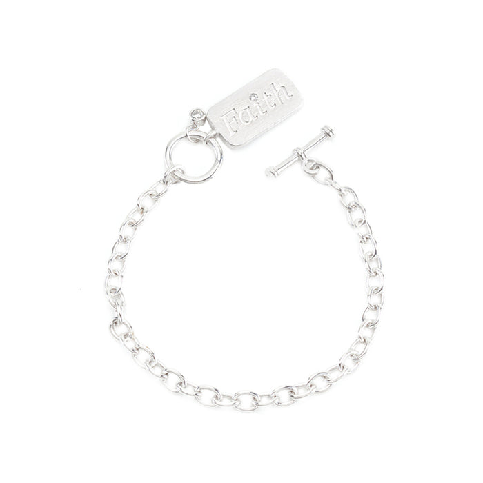J Goodin Charm Contemporary Style Cubic Zirconia Silvertone Finish Faith Charm Bracelet For Women