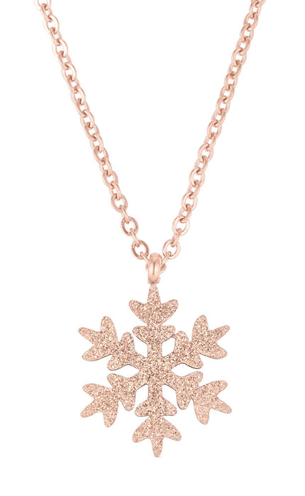 J Goodin Women Fashion Jewelry Jenna Rose Gold Stainless Steel Rose Gold Snowflake Necklace