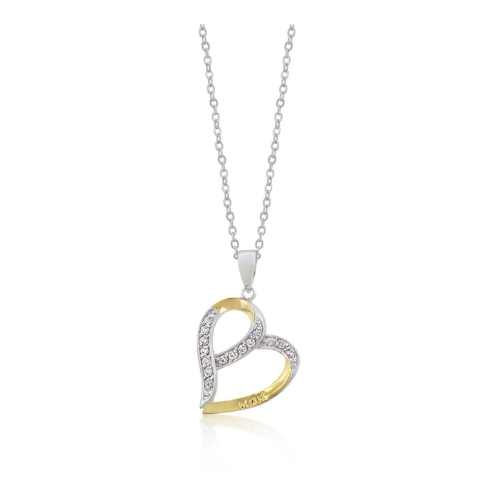 J Goodin Cubic Zirconia Heart Style Mom Two-tone Finish Fashion Pendant