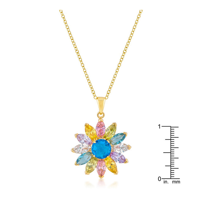 J Goodin Cubic Zirconia Floral Fashion Style Goldtone Colorful Flower Pendant For Women