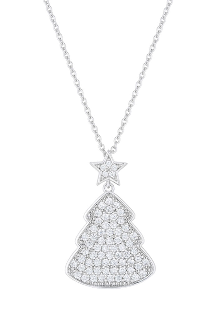J Goodin Cubic Zirconia Holiday 5.75ct Clear Christmas Tree Drop Necklace