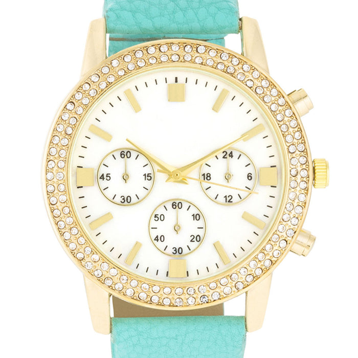 J Goodin Gold Shell Pearl Watch With Crystals - Mint Leather Strap