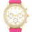 J Goodin Gold Shell Pearl Watch With Crystals - Pink Leather Strap