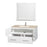 42 In. Single Bathroom Vanity In White, Ivory Marble Countertop, Undermount Square Sink, And 36 In. Mirror
