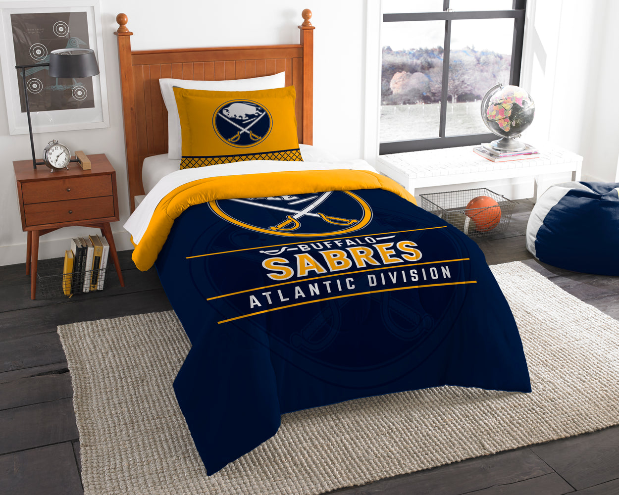 "Sabres OFFICIAL National Hockey League, Bedding, """"Draft"""" Twin Printed Comforter (64""""x 86"""") & 1 Sham (24""""x 30"""") Set  by The Northwest Company"